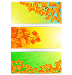 banners with yellow leaves vector image vector image