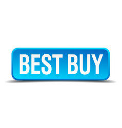 Best buy blue 3d realistic square isolated button vector