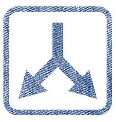 Bifurcation arrow down fabric textured icon vector
