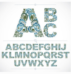 Blue floral font hand-drawn capital alphabet vector