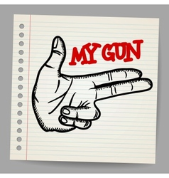 Cartoon gun two fingers sign vector