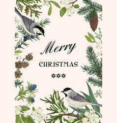 christmas card with two birds vector image vector image