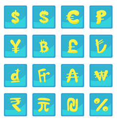 Currency icon blue app vector