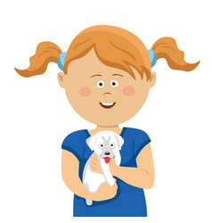 Cute little girl with pigtails holding white puppy vector