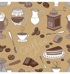 Doodle pattern coffee vector image vector image