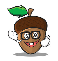Geek acorn cartoon character style vector