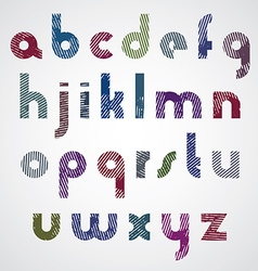 Grunge colorful rubbed lower case letters vector