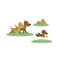 Happy family walking with dog in green field vector