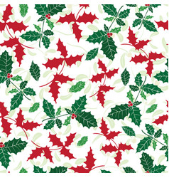 holly berry green red holiday seamless vector image