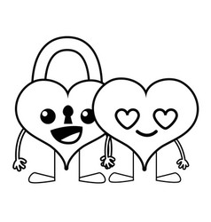 Line happy couple hearts kawaii cartoons vector