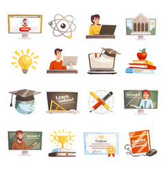 Online learning icons set vector