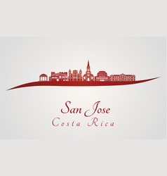 san jose skyline in red vector image