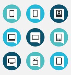 Set of 9 editable gadget icons includes symbols vector