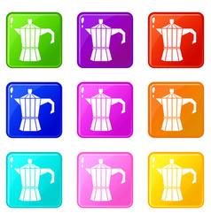 Steel retro coffee pot icons 9 set vector