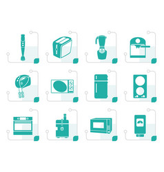 stylized kitchen and home equipment icons vector image