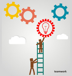 teamwork success - workers put gears in to place vector image