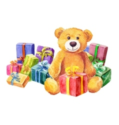 Teddy bear sits on a background of gifts vector