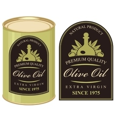 tin with label olive oil vector image vector image