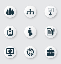 Trade icons set collection of id badge contract vector