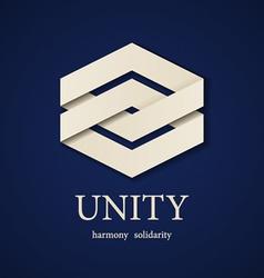 Unity paper icon design template vector