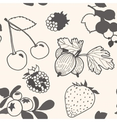 Unpainted berries pattern vector