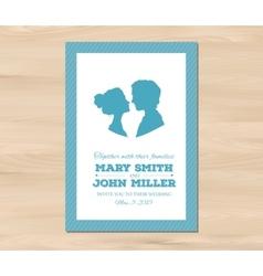 Wedding invitation with profile silhouettes vector