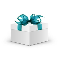 White Square Gift Box with Light Blue Ribbon vector image