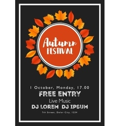 Fall festival template bright colourful autumn vector