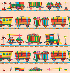 Railway train station seamless pattern vector