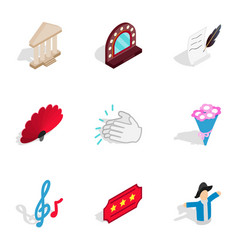 Dramatic art icons isometric 3d style vector