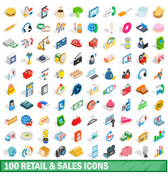 100 retail sales icons set isometric 3d style vector