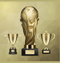 gold trophy with man holding earth in hands vector image