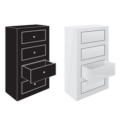 Office cabinet drawers black silhouette and 3d vector