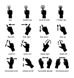 Touch interface gestures black vector