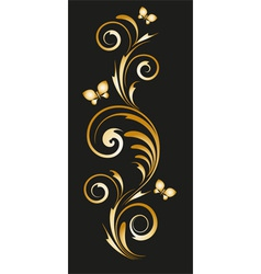 Gold vignette with abstract floral ornament vector