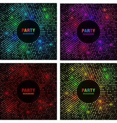Set of Abstract Circular Colorful Bright Glow Back vector image