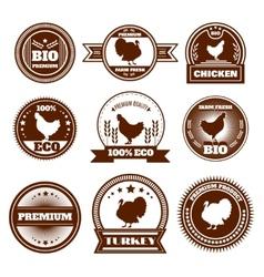 Eco farm chicken turkey emblems vector image