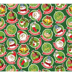 Seamless pattern with funny christmas cartoon vector