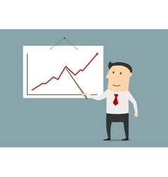 Businessman presenting a growing chart vector