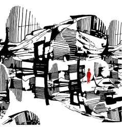 Man among city drawn graphically stylized vector