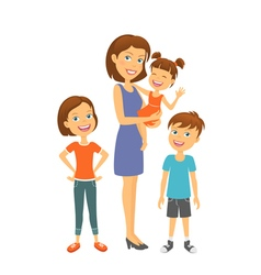 Mother with kids happy family mother with children vector