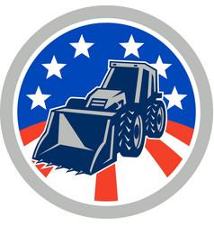 American mechanical digger excavator circle vector