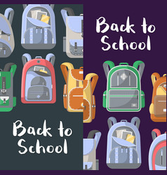 Back to school discount flyers set with backpacks vector