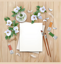 background with brushes and paints vector image