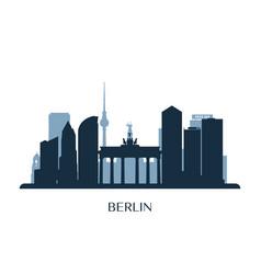Berlin skyline monochrome silhouette vector