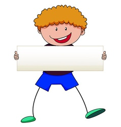 Boy with curly hair holding white sign vector image vector image