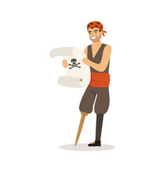 Brave pirate sailor character with wooden leg vector