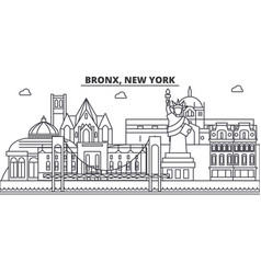 bronx new york architecture line skyline vector image