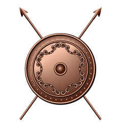 Bronze shield and crossed spears vector image