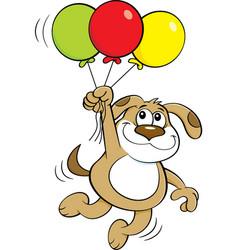 Cartoon dog holding balloons vector